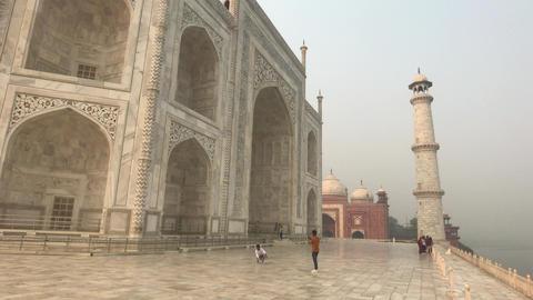 Agra, India, November 10, 2019, Taj Mahal, tourists take a selfie outside the Live Action