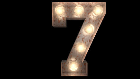 rusty steel blinking light bulb letters 7-2 Animation