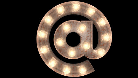 rusty steel blinking light bulb letters AT 2 Animation