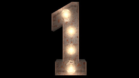 rusty steel blinking light bulb letters 1-2 Animation