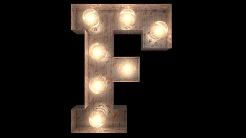 rusty steel blinking light bulb letters F 2 Animation