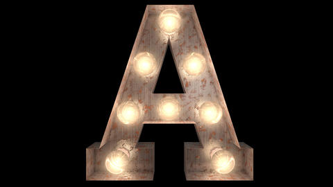 rusty steel blinking light bulb letters A 2 Animation