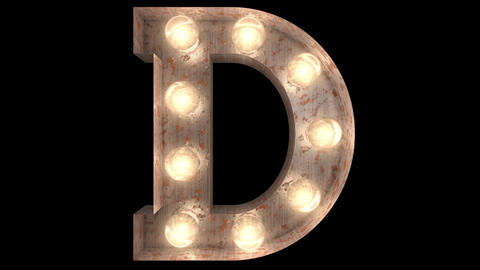 rusty steel blinking light bulb letters D 2 Animation