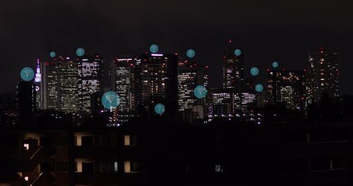 Wireless icons throughout large city skyline. Data communication, technology concept, artificial Live Action