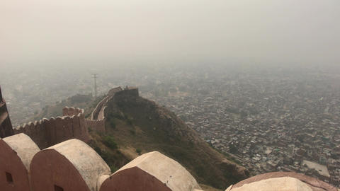 Jaipur, India - defensive structures on a high mountain part 4 Live Action
