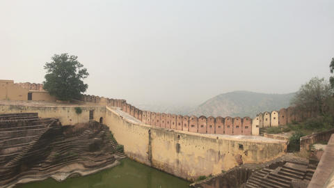 Jaipur, India - defensive structures on a high mountain part 8 Live Action