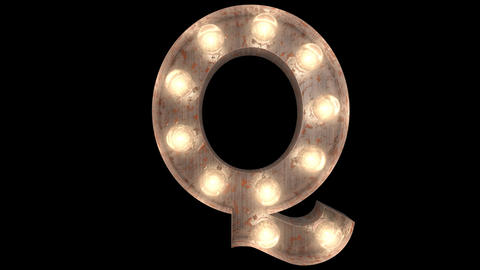 rusty steel blinking light bulb letters Q 2 Animation