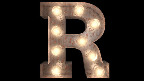 rusty steel blinking light bulb letters R 2 Animation