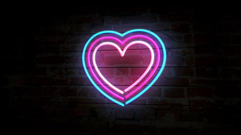 Heart symbol neon on brick wall Animation
