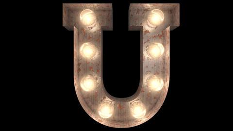 rusty steel blinking light bulb letters U 2 Animation