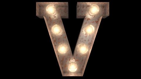 rusty steel blinking light bulb letters V CG動画