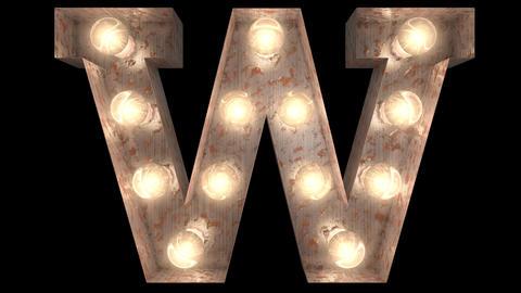 rusty steel blinking light bulb letters W Animation
