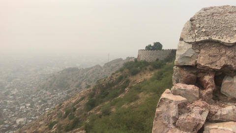 Jaipur, India - defensive structures on a high mountain part 12 Live Action