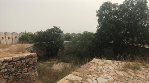 Jaipur, India - defensive structures on a high mountain part 10 Live Action