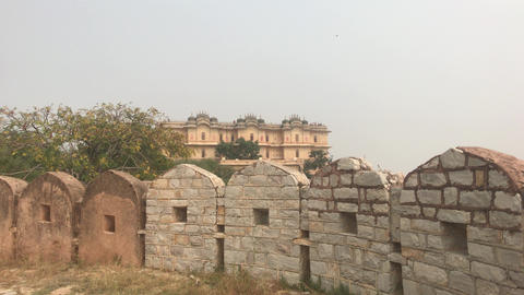 Jaipur, India - defensive structures on a high mountain part 11 Live Action