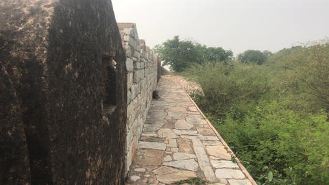 Jaipur, India - defensive structures on a high mountain part 15 Live Action