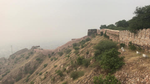 Jaipur, India - defensive structures on a high mountain part 7 Live Action