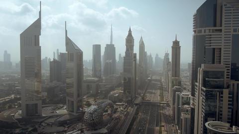 Aerial view of Dubai Trade Centre area, an elite business district. UAE Live Action
