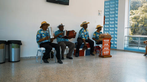 Local musical band playing on the traditional national instruments Live Action