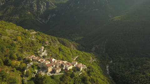 Amazing mountain village high in the mountains, aerial footage of the houses, 4k Live Action