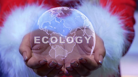 Hands holding planet with text Ecology Live Action