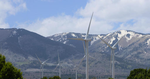 Windmill electric energy rural mountain landscape DCI 4K Footage