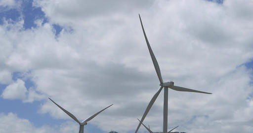 Windmill energy cloud mountain peak DCI 4K Footage