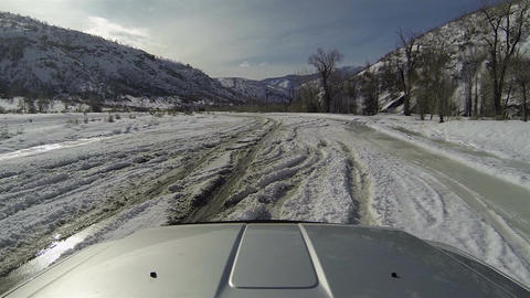 Winter driving truck deep snow ice POV HD 0272 Footage
