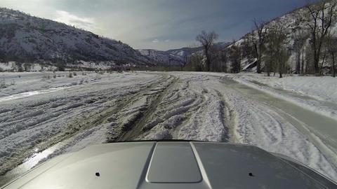 Winter driving truck deep snow ice POV HD 0272 Footage