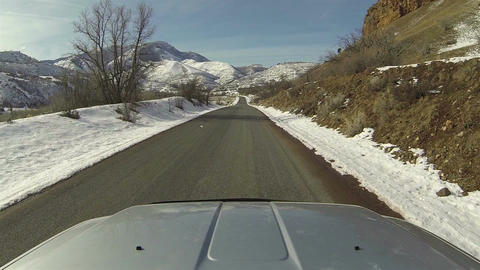 Winter mountain canyon driving truck POV 3 HD 0274 Footage