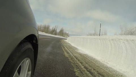 Winter mountain snowy road splash on view POV HD 0285 Footage