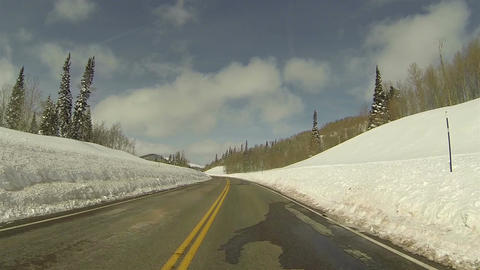 Winter snow high mountain road POV 1 HD 0277 Footage