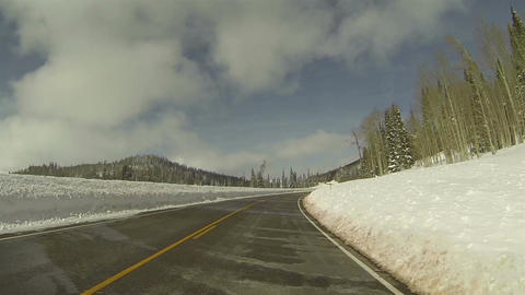 Winter snow high mountain road POV 4 HD 0277 Footage