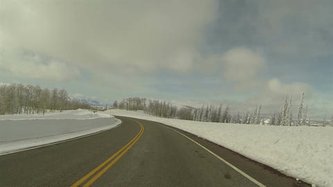 Winter snowbanks drive mountain road POV 4 HD 0283 Footage