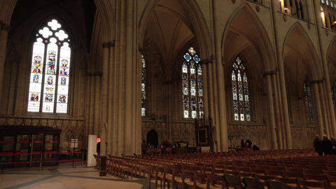 York England Cathedral inside nave member chairs 4K Live Action