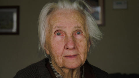 Portrait Of A Lonely Old Woman, 99 Years Old, Senescence Footage