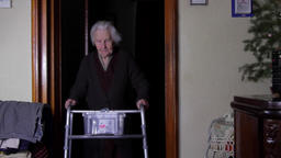 99 Years Old Woman With Walker, Very Old Person, Disabled Old Woman Footage