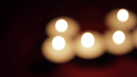 Unfocused Romantic Candle Lights In A Romantic Setting, Pan Footage