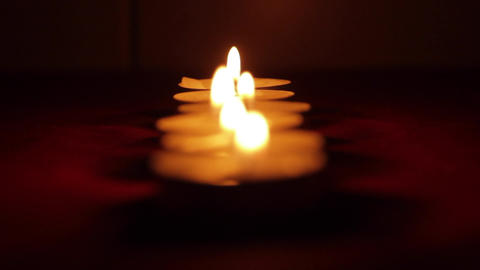 Row Of Romantic Candles, Valentine's Day, Romance, Intimacy, Rack Focus Footage