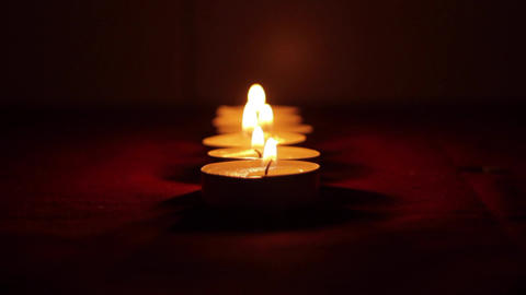 Beautiful Candles In A Romantic Setting Blown Off Footage