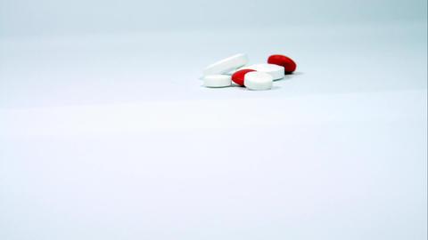 Pills Isolated On White, Tilt, Medication, Drugs, Pain Killers, Illness Footage