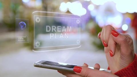 Female hands interact HUD hologram Dream plan Live Action