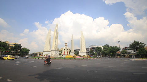 Democracy monument with cloud in Bangkok, Thailand Live Action