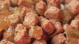 Wet dog meat chunks extreme close up stock footage Live Action