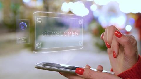 Female hands interact HUD hologram Developer Live Action