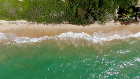 Aerial view of tropical white sand beach and turquoise clear sea water with Live Action