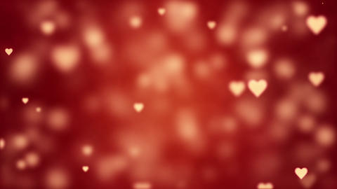 Glamorous romantic background with red hearts. Valentine's card. Soft focus and depth of field. Animation