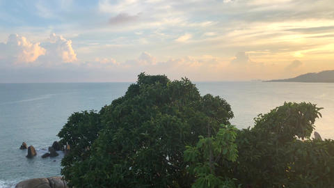 Lamai viewpoint during Tropical sunset under Hin Ta and Hin Yai Rocks in Koh Live Action
