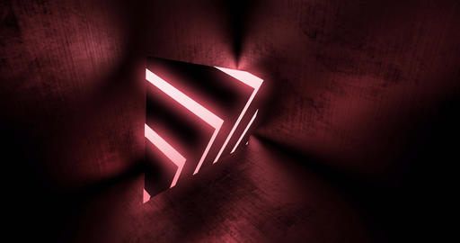 Red neon triangle shape with glowing abstract of light and futuristic design - 4K loop Animation