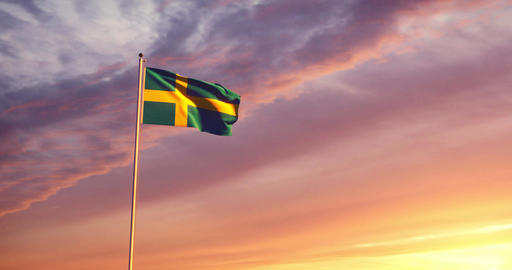 Swedish flag waving shows the Country of Sweden with its capital Stockholm - 4k Animation